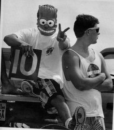 Behind that Bart Simpson mask is Harlandale student Anthony Flores. He and fellow student Alex Lozano eye other beach goers on Mustang Island, spring break 1991. Photo: San Antonio Express-News