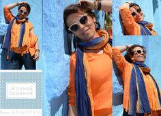 Conjunto naranja de Sitamurt y foulard de Yerse. Impresionante colorido!!!!