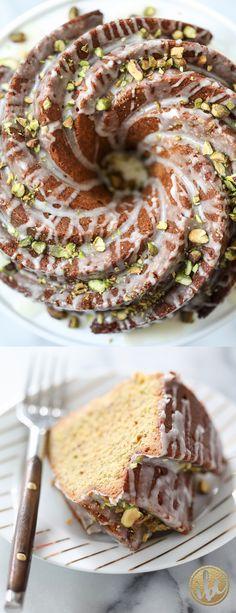 Lemon Pistachio Bundt Cake - dessert recipes for Spring, Easter, or St. Patrick's Day!