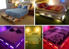 Install LED lights in a DIY pallet bed for a modern rustic bedroom. Diy Pallet Furniture, Diy Pallet Bed, Pallet Bed Frames, Pallet Wood, Pallet Boards, Wooden Pallets, Rustic Furniture, Painted Furniture, Furniture Design