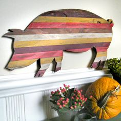 Pallet Wood Pig Customizable Piggy Wooden Barbecue Red Trim Kitchen Decor. $146.00, via Etsy.