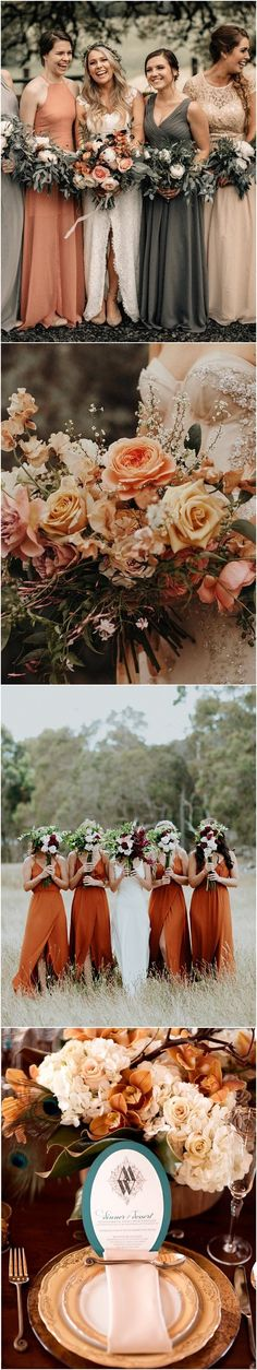 sunset orange and grey fall wedding color ideas for 2019 #weddings #weddingcolors #weddingideas #orangeweddings #weddinginspiration www.deerpearlflow...