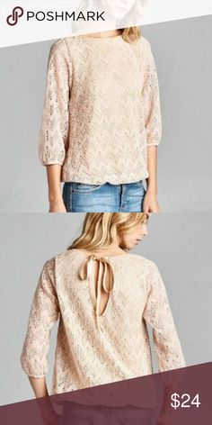 46185e9c3d7 Crochet Bubble Hem Top This beautiful crochet top features a chevron design  detail. Elastic to