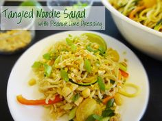 Party Food to Go:  Tangled Noodle Salad with Peanut Lime Dressing