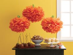 martha stewart halloween pom pom pumpkin decor