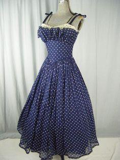 FRED PERLBERG Vtg 50s Navy Dots Dress w/Cream Lace-Bust 34/XXS #DanceOrginalbyFredPerlberg