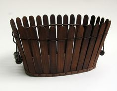 "Kentucky Shaker Picket Fence Apple Basket -     16"" Long in lovely, untouched original surface. This elegant mint condition Shaker picket fence basket creates a stunning display when it is brimming with apples and other colorful fruit"