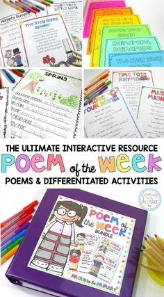 Teach a poem of the week and complete poetry activities to help build reading fluency, vocabulary, and grammar skills. Children love to read these weekly poems and yours will too! This Poem of the Week bundle includes 4 poem of the week resources. That's a total of 60 original poems and 20 nursery rhymes, each with their own differentiated activities for Kindergarten, First Grade, and Second Grade. #proudtobeprimary