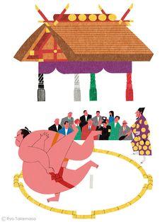 野村證券が発行する情報誌『Nomura Fund 21』の「大相撲の豆知識」でイラストレーションを担当しました。 Illustration for the feature on Sumo in Nomura Fund 21 magazine.