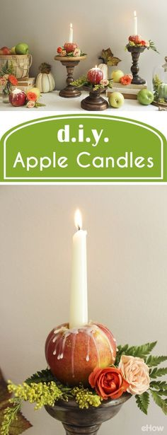 Apple candles are so beautiful and even easier to make! They are whimsical and fun, not to mention great teacher appreciation gifts for back-to-school events. They also are perfect for the autumn mantel and act as great centerpieces. Just so functional! DIY your own in just a few minutes with these instructions:  http://www.ehow.com/how_4536873_make-apple-candles.html?utm_source=pinterest.com&utm_medium=referral&utm_content=freestyle&utm_campaign=fanpage