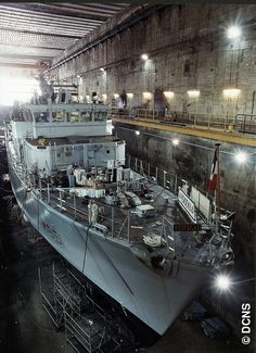 French Marine Nationale mine hunter in the submarine pens at Brest.