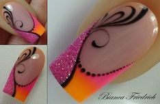 Colorful and simple maunucure – neon nail art Swirl Nail Art, Neon Nail Art, Neon Nails, Acrylic Nail Art, Acrylic Nail Designs, Pink Nails, Nail Art Designs, Fancy Nails, Pretty Nails