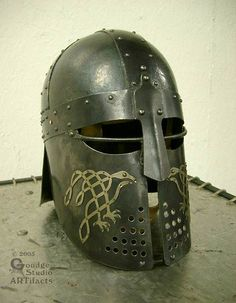 Raven-cheek helm (for SCA combat) Sca Armor, Viking Armor, Viking Helmet, Medieval Armor, Viking Age, Medieval Fantasy, Ancient Armor, Warrior Helmet, Viking Culture