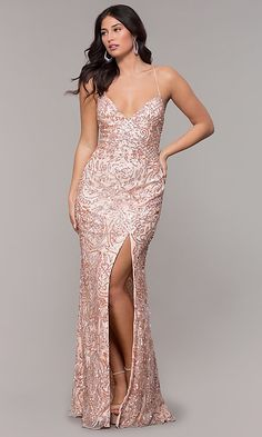 Shop sequin-print rose gold open-back long prom dresses at PromGirl. Sparkly pink prom dresses, v-neck formal dresses for prom, and corset prom dresses with side slits. Mermaid Prom Dresses Lace, Gold Prom Dresses, Open Back Prom Dresses, Formal Dresses For Teens, Backless Prom Dresses, Women's Evening Dresses, Event Dresses, Bridesmaid Dresses, Club Dresses