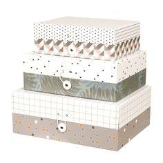 Boîtes de rangement (par 3) rect. ou cube Jungle Pt Living