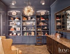 Eclectic Blue Library with Iron Chandelier