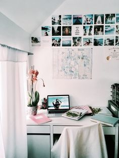 Decorating ideas white college dorm room ideas with picture photos and lights comfy corner cozy shelves teenage room decor ideas diy bedroom wall decor Room Decor For Teen Girls, Girls Bedroom, Bedroom Decor, Bedroom Ideas, Decor Room, Trendy Bedroom, Bedroom Designs, Bedroom Wall, Hippie Bedrooms