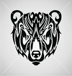 Tribal Bear Face vector image on VectorStock Tribal Bear Tattoo, Aztec Tribal Tattoos, Tribal Shoulder Tattoos, Mens Shoulder Tattoo, Bear Tattoos, Arte Tribal, Body Art Tattoos, Sleeve Tattoos, Turtle Tattoos