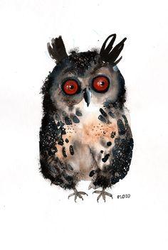 An Owl, original painting by ozozo. €40.00, via Etsy.