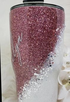 Rose Gold and White Glitter With Chunky Silver Swirl// Elegant Tumbler// Rose Gold Tumbler// Swirl Tumbler// – Cup ideas – New Epoxy Diy Tumblers, Custom Tumblers, Glitter Tumblers, Personalized Tumblers, Glitter Cups, White Glitter, Glitter Wine, Glitter Dress, White Gold