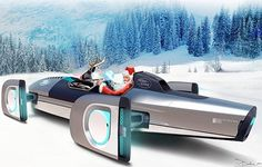 'Land Rover Particle Accelerator Sleigh' by Florian Dobe from a 2009 ad series Merry Christmas Google, Christmas Sled, North Pole Santa's Workshop, Jaguar Land Rover, Childrens Christmas, Santas Workshop, Car Magazine, Santa Sleigh, Car Manufacturers