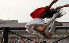 "Kanako Momota performing her iconic ""Shrimp jump"""