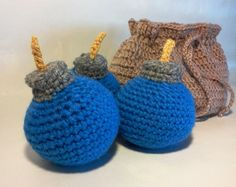 Zelda Inspired Bomb Bag and 3 Blue Bombs by TheKnottyNerdsery