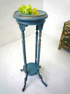 Wooden painted duck egg blue plant stand  / jardiniere / hall table | eBay