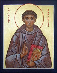Saint Anthony of Padua Byzantine Icons Maria Rose, My Maria, Religious Icons, Religious Art, Saint Anthony Of Padua, Byzantine Icons, Orthodox Christianity, Caligraphy, Carpe Diem