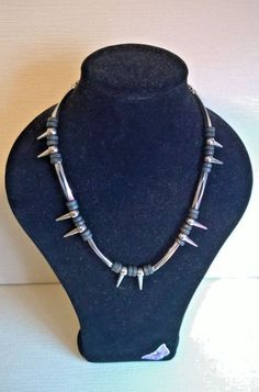 Goth / Punk Spiked necklace with long metal beads and round black wooden beads