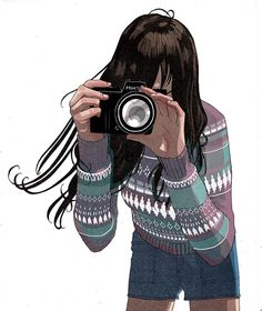 Girl in Sweater with Bangs and Camera Illustration by Jorge Roa. #Photography #Photographer #PhotoGirl #Art