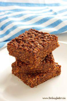 No-Bake Chocolate Peanut Butter Oat Bars www.thebusybaker.ca