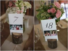 Cute and creative table number idea alert!     Put photos of both you and your love at the same age under each number.    (There's so much rustic chic goodness at this wedding, be sure to click through!)