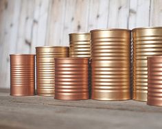 3 Painted tins cans. Centerpieces. Steampunk wedding, copper and gold decor. Rose gold, wedding decor.
