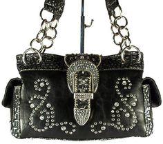 Western Style Fashion Handbag by Montana West Rhinestone Paisley Design - Black  $69.99 + Free Shipping! wantedwardrobe.net wantedwardrobe.com #shop #fashion #handbags  #wantedwardrobe