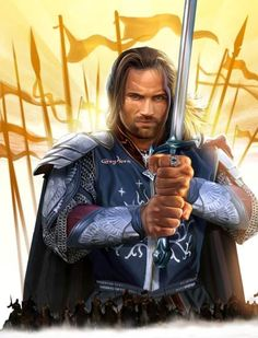 King Elessar Telcontar of Gondor (Aragorn). He married Elrond's daughter Arwen, and assumed the Sceptre of Annúminas as King of Arnor, uniting the two kingdoms for the first time since the reign of Isildur. Aragorn And Arwen, Legolas, Gandalf, Tolkien Books, Jrr Tolkien, Lord Of Rings, H Comic, O Hobbit, Hobbit Art