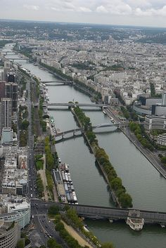 A view along the Seine from the Eiffel Tower.