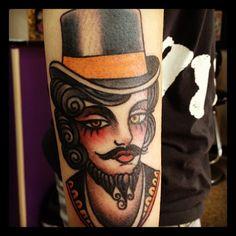 Bearded Lady Ringmaster Circus Tattoo