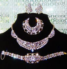 Vintage Kramer Iconic Alexandrite Rhinestone Necklace Bracelet Brooch Earrings Book AD Set