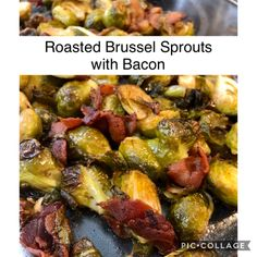 Roasted Brussel Sprouts with Bacon Sprouts With Bacon, Yummy Eats, Low Carb Recipes, Side Dishes, Roast, Nutrition, Weight Loss, Stuffed Peppers, Vegetables