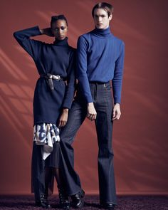 Look from Richard Mnisi collection. - curated by African Clothing For Men, African Fashion Designers, Slow Fashion, Gq, South Africa, Pants, Normcore, Turtle Neck, Blue