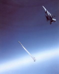 "On September 13, 1985, the first Air-Launched Anti-Satellite Missile (ASAT) successfully destroyed its target. Maj. Wilbert ""Doug"" Pearson flew a highly modified F-15A over Edwards Air Force Base, CA, and scored a direct hit on a satellite in orbit 340 miles above the Earth."