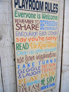 Playroom Rules typography wall sign by AmericanAtHeart on Etsy, $45.00