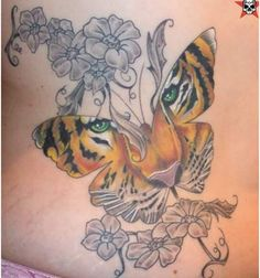 Butterfly Inspired Tiger Tattoo