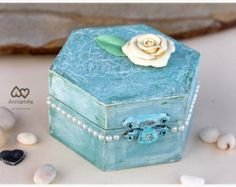 Wedding ring box personalized engagement ring bearer: Distressed blue box with flower,shabby chic ring bearer, ring holder wedding box