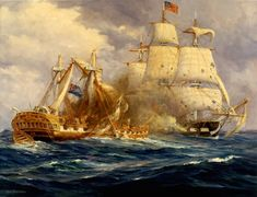 Painting by Anton Otto Fischer depicting the first victory at sea by USS Constitution over HMS Guerriere