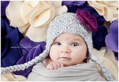 SALE Design Your Own Crochet Flower Embellished Hat with Ear flaps and Braids for Babies Children and Adults, Photo Prop, Custom Design. $19.99, via Etsy.