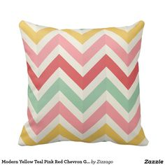 Rest your head on one of Zazzle's Sofa decorative & custom throw pillows. Teal And Pink, Yellow, Red Chevron, Geometric Pillow, Colour Inspiration, Decorative Throw Pillows, Clocks, Canvas Art, Modern