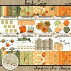 Digital Scrapbooking Pumpkin Spice Kit #DandelionDustDesigns #DigitalScrapbooking