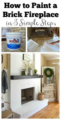 Farmhouse Fireplace Makeover fireplace and tv ship lap.Fireplace Garden Back Yards fireplace drawing accent walls.Tv Over Fireplace Old House. Paint Brick Fireplace White, Painted Brick Fireplaces, Fireplace Update, Brick Fireplace Makeover, Old Fireplace, Farmhouse Fireplace, Fireplace Design, Brick Fireplace Remodel, Fireplace Ideas